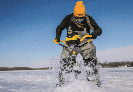 Using an electric ice auger
